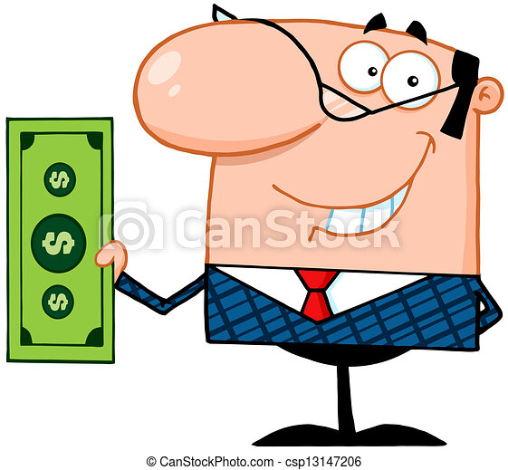 smiling business manager holding a dollar bill vector clipart rh canstockphoto ca manager clipart black and white manger clipart