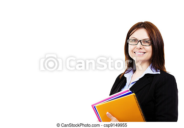 smiling business woman holding pads of notepaper on white background - csp9149955