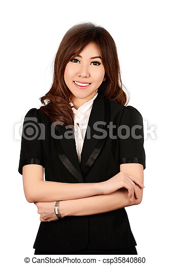 Smiling business woman portrait. White background. - csp35840860