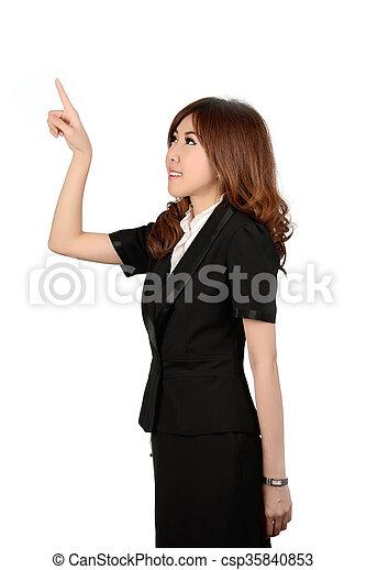 Smiling business woman portrait. White background. - csp35840853
