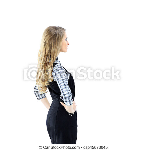 Smiling business woman portrait. White background. - csp45873045