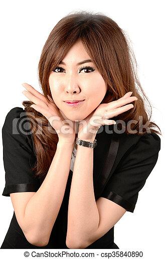 Smiling business woman portrait. White background. - csp35840890