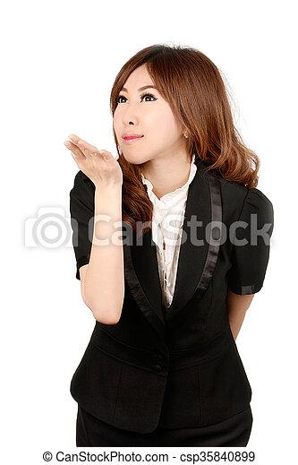 Smiling business woman portrait. White background. - csp35840899