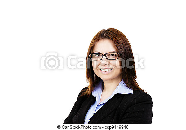 smiling business woman wearing glasses on white background - csp9149946