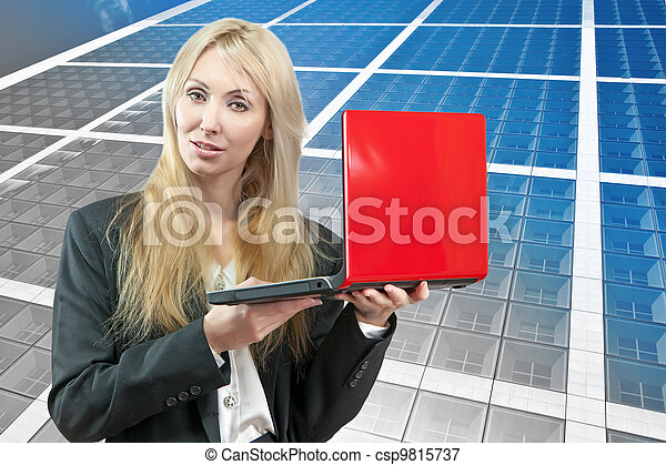 smiling business woman with  red laptop - csp9815737