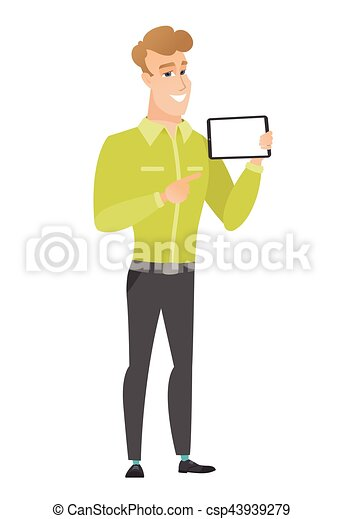 Smiling businessman holding tablet computer. - csp43939279