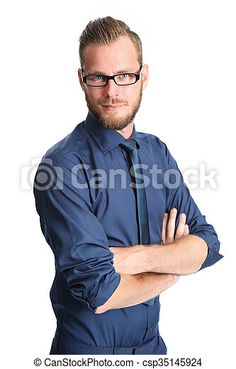Smiling businessman in glasses - csp35145924