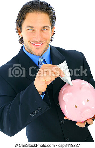 Smiling Businessman Insert Money To Piggy Bank - csp3419227