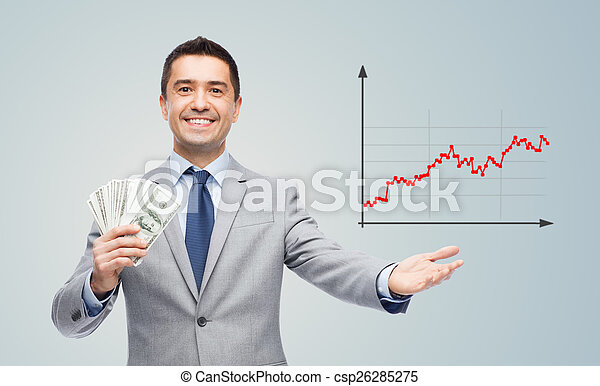 smiling businessman with american dollar money - csp26285275