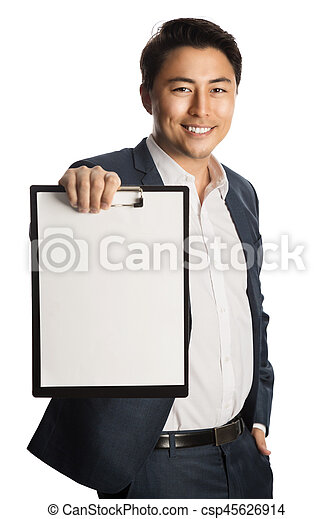 Smiling businessman with document - csp45626914