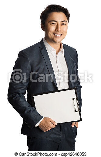 Smiling businessman with document - csp42648053