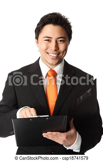 Smiling businessman with folder - csp18741579