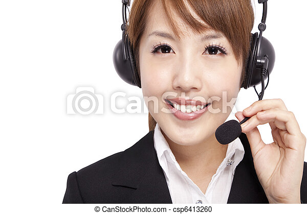 Smiling businesswoman and Customer Representative with headset - csp6413260