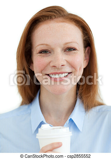 Smiling businesswoman drinking a coffee  - csp2855552