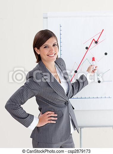 Smiling businesswoman reporting sales figures  - csp2879173