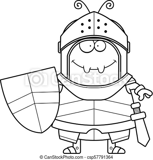 Smiling Cartoon Ant Knight - csp57791364