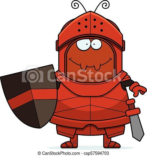 Smiling Cartoon Ant Knight - csp57594703