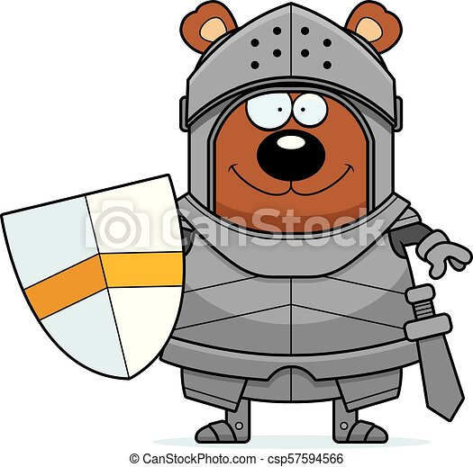 Smiling Cartoon Bear Knight - csp57594566