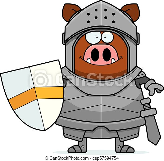 Smiling Cartoon Boar Knight - csp57594754