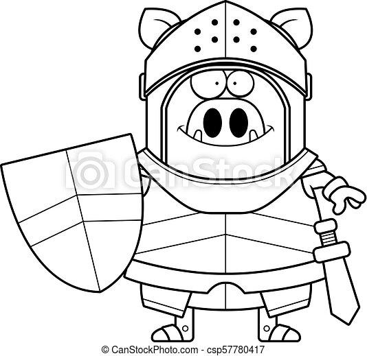 Smiling Cartoon Boar Knight - csp57780417