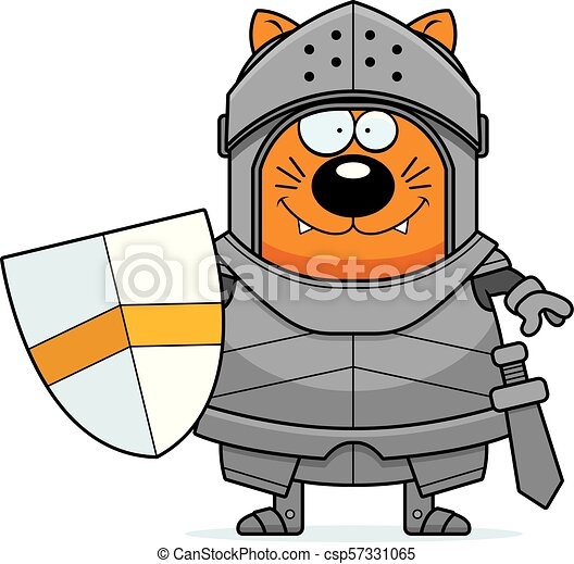 Smiling Cartoon Cat Knight - csp57331065