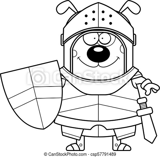 Smiling Cartoon Dog Knight - csp57791489