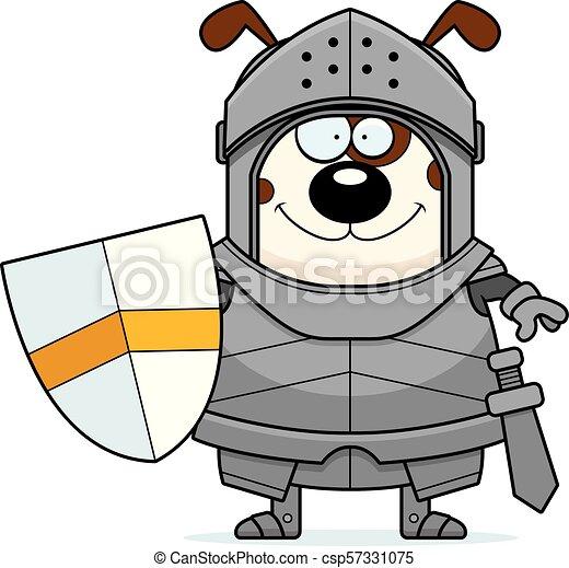 Smiling Cartoon Dog Knight - csp57331075