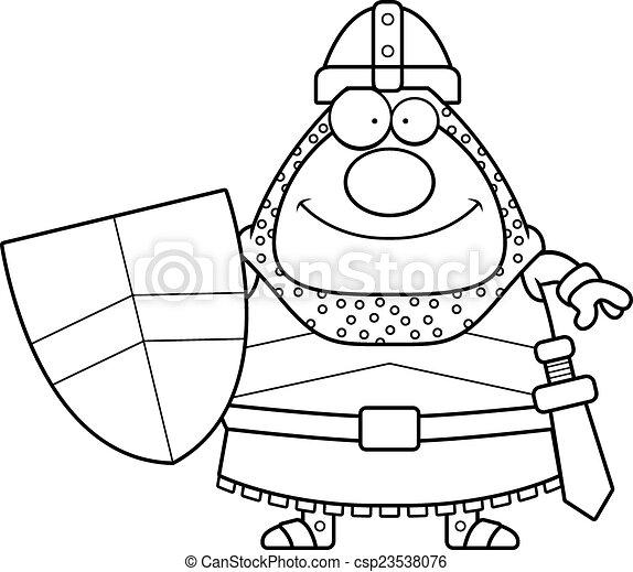 Smiling Cartoon Knight - csp23538076
