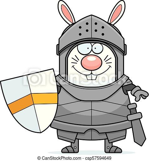 Smiling Cartoon Rabbit Knight - csp57594649