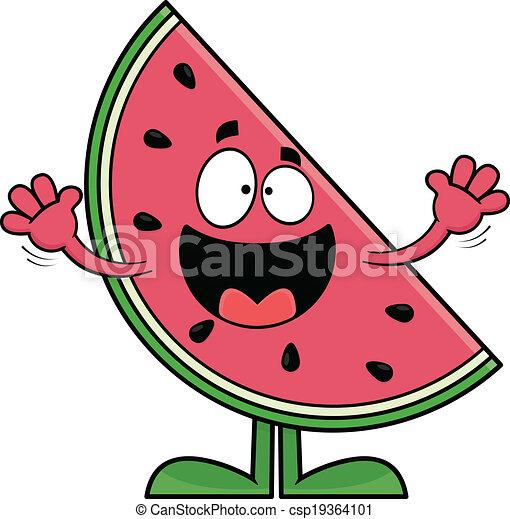 Smiling Cartoon Watermelon - csp19364101