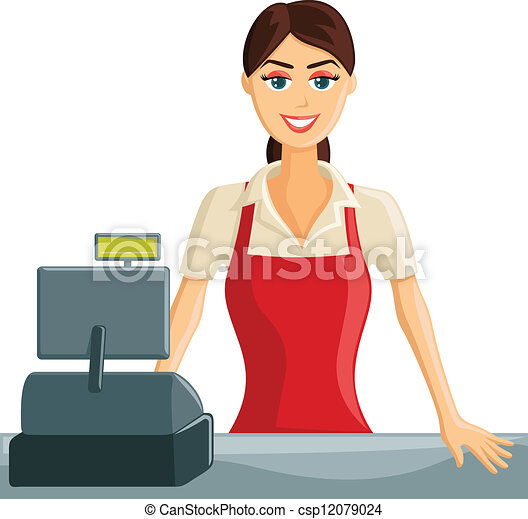 Smiling Cashier Girl  - csp12079024