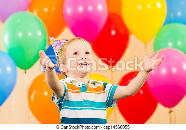 smiling child boy with balloons on birthday party - csp14566055