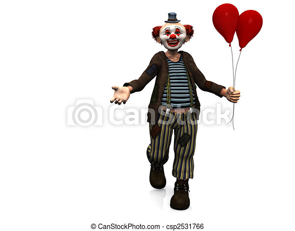 Smiling clown with red balloons. - csp2531766