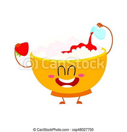 Smiling Cottage Cheese Bowl Character Pouring Strawberry Jam Over Itself Vector