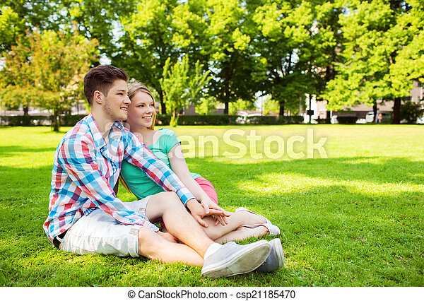 smiling couple in park - csp21185470
