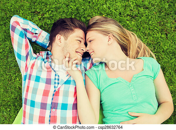 smiling couple in park - csp28632764
