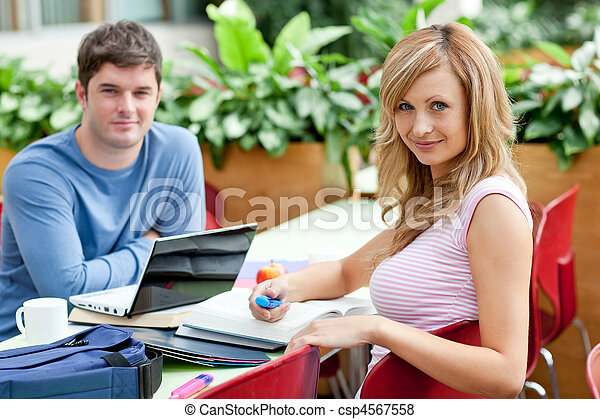 Smiling couple of students working together - csp4567558