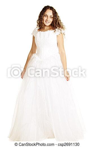 Smiling curly bride - csp2691130