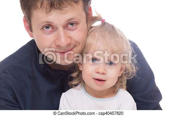 Smiling dad with his daughter isolated - csp40457820