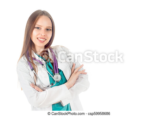 smiling doctor woman with stethoscope standing isolated on white background - csp59958686