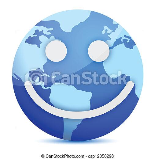 smiling Earth globe - csp12050298