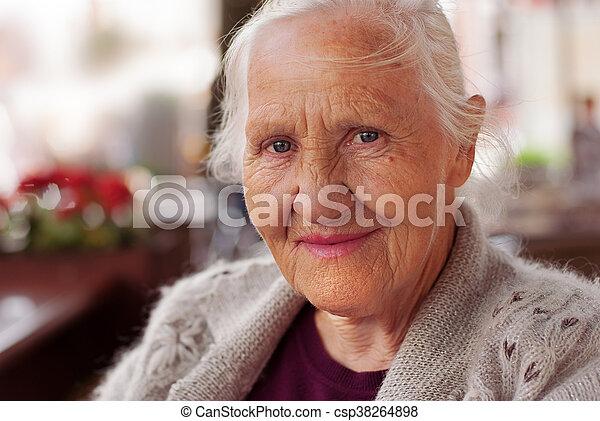 Smiling elderly woman - csp38264898