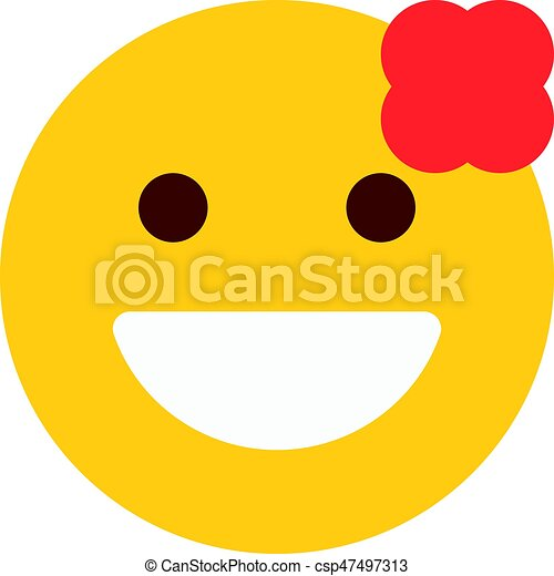 Smiling Emoji With Flower