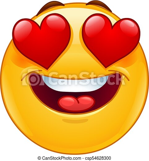 Smiling emoticon face with heart eyes - csp54628300