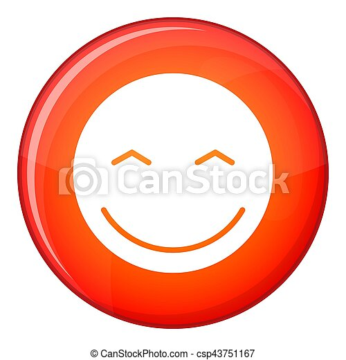Smiling emoticon, flat style - csp43751167