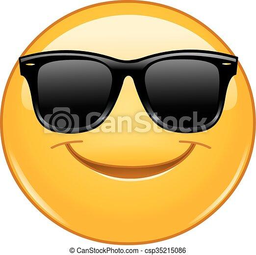 Smiling emoticon with sunglasses - csp35215086