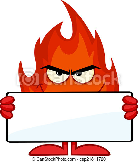Smiling Fire Holding A Blank Banner - csp21811720