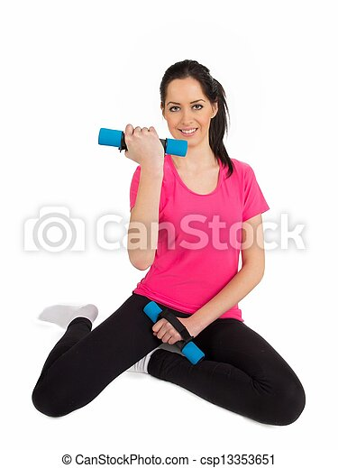 Smiling fitness woman lifting weights  - csp13353651