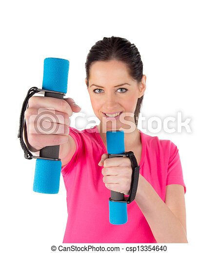 Smiling fitness woman lifting weights  - csp13354640