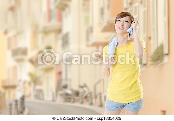 Smiling fitness woman - csp13854029